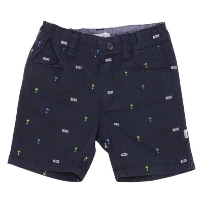 Shorts blu navy in gabardina di cotone