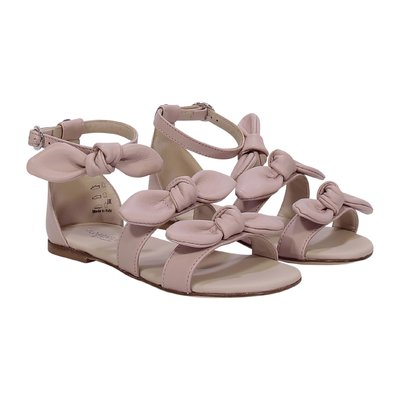 FLORENS pink leather sandals with bows