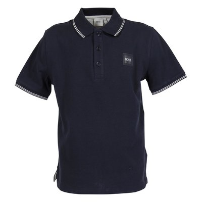 Navy blue cotton piquet polo shirt