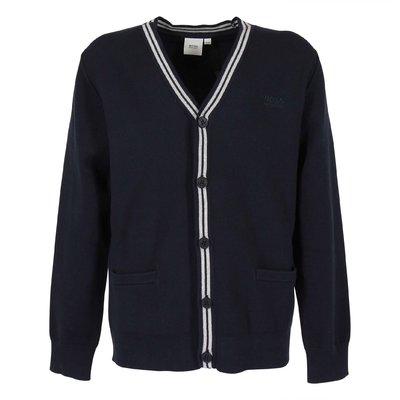 Navy blue cotton blend cardigan