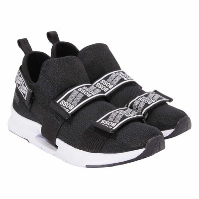 Black techno fabric sneakers