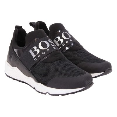 Black perspiring microfibre sneakers