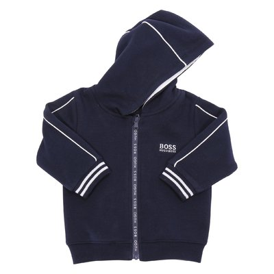 Felpa blu navy in cotone con zip e cappuccio