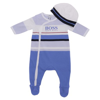 Set in jersey di cotone con tutina blu e cappello bianco