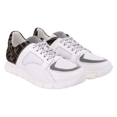 White and brown leather stretch technical knit lace-up sneakers