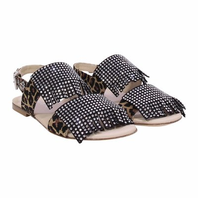 Animal print leather sandals with crystals