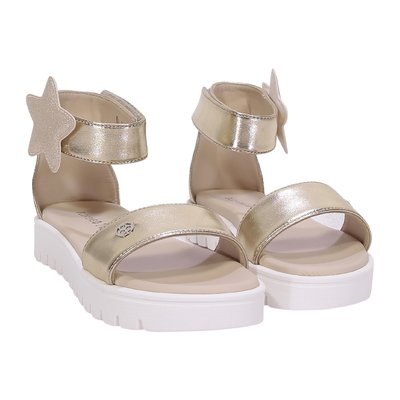 Silver faux leather sandals