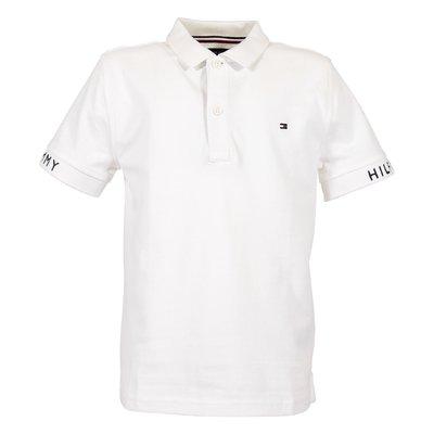 Polo bianca in piquet di cotone con logo