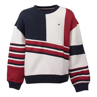 Color blocking cotton sweatshirt