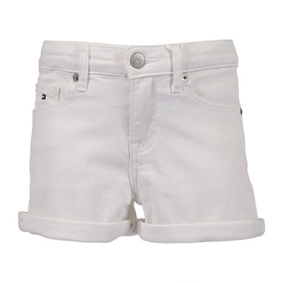 White stretch cotton denim shorts
