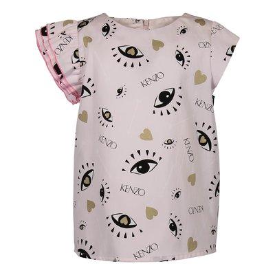 Blusa rosa stampata in misto cotone con dettaglio logo