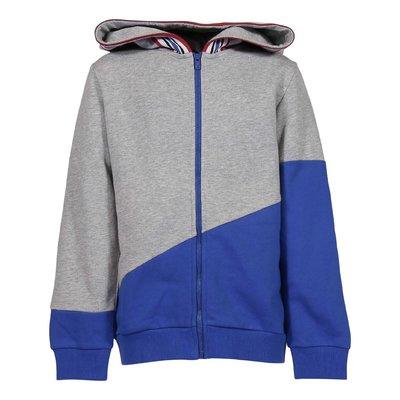 Melange grey contrasting details cotton hoodie