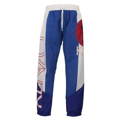 Blue logo detail contrasting details techno fabric pants