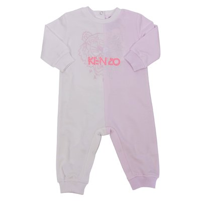 White and pink cotton jersey Tiger romper