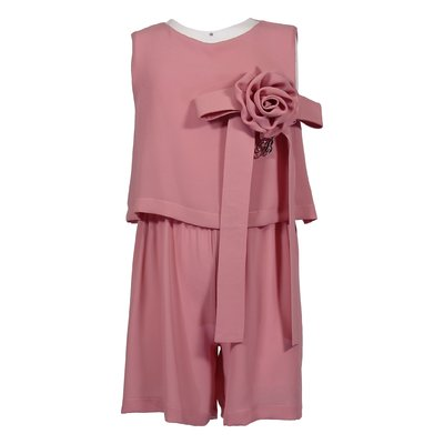 Tuta rosa in crepe de chine con fiore applicato