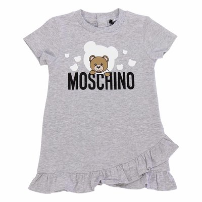 Melange grey cotton jersey Teddy Bear dress
