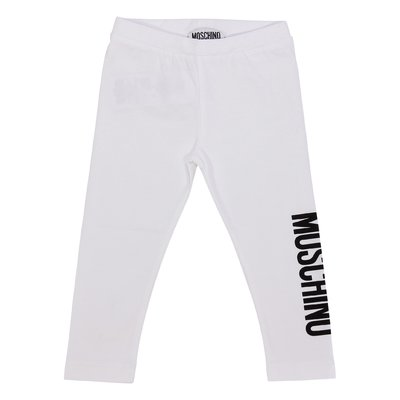 White logo detail stretch cotton leggings