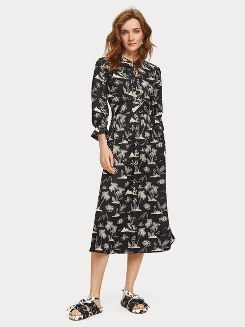 Printed Satin Midi Dress