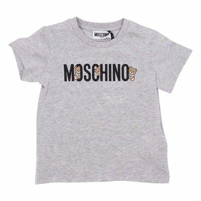 T-shirt grigio melange in jersey di cotone con logo