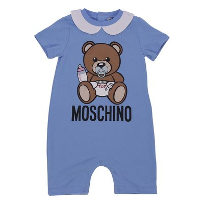 Light blue cotton jersey Teddy Bear romper