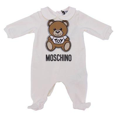 Tutina bianca Teddy Bear in jersey di cotone