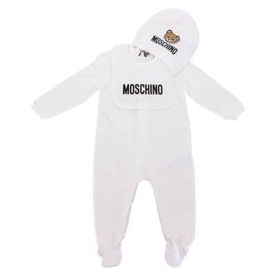 White Teddy Bear cotton jersey romper, hat and bib set