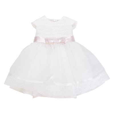 White stretch tulle macrame elegant dress