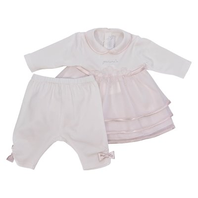 Pink and white cotton jersey dress and leggings elegant set