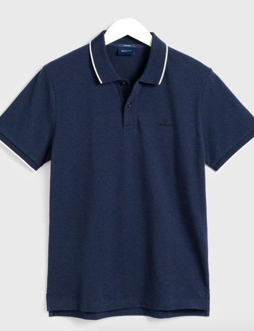 Polo Gant con bordi a contrasto - Blu