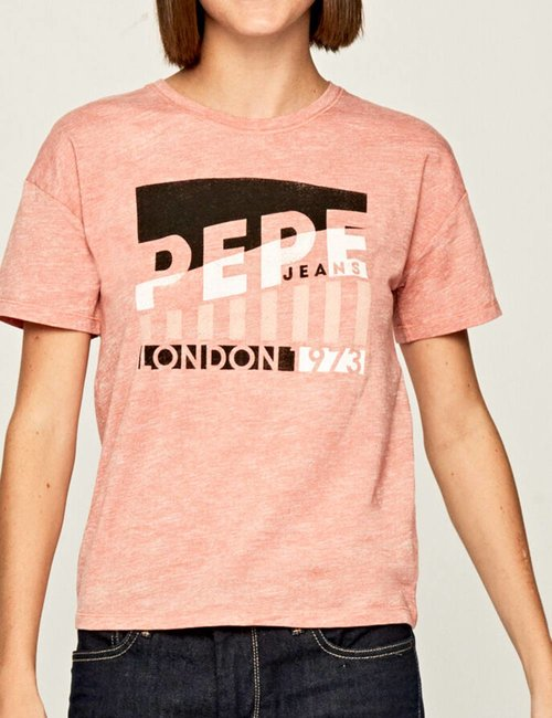 T-shirt Pepe Jeans con stampa - Rosa