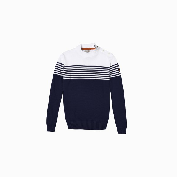 Men's E36 crew-neck sweater in cotton with nautical style