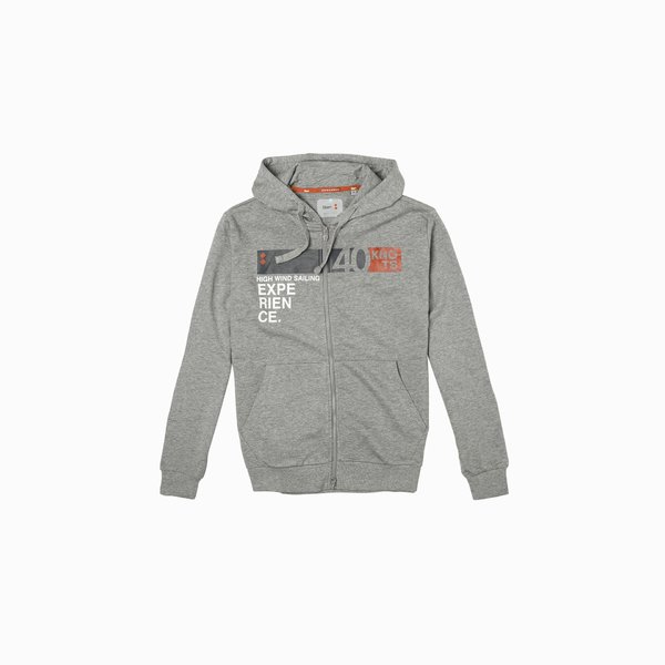 Men's E57 zip sweatshirt with hood and logo on the chest