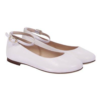 White leather velcro strap ballerinas