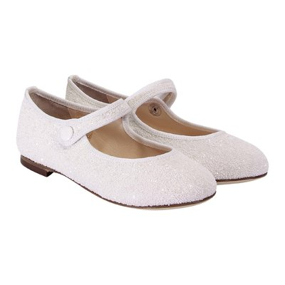 White faux leather ballerinas with glitter