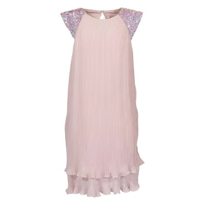 Pink pleated crepe de chine dress with sequin