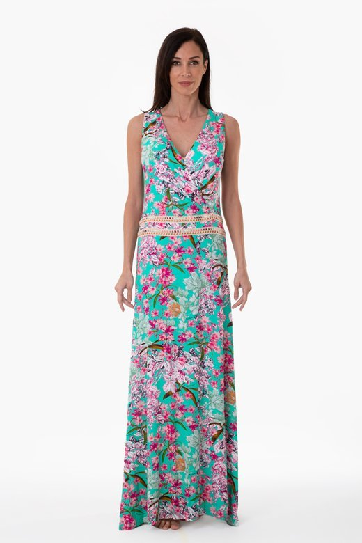 LUXE PRINTED LONG DRESS WITH WAIST TRIMMING
