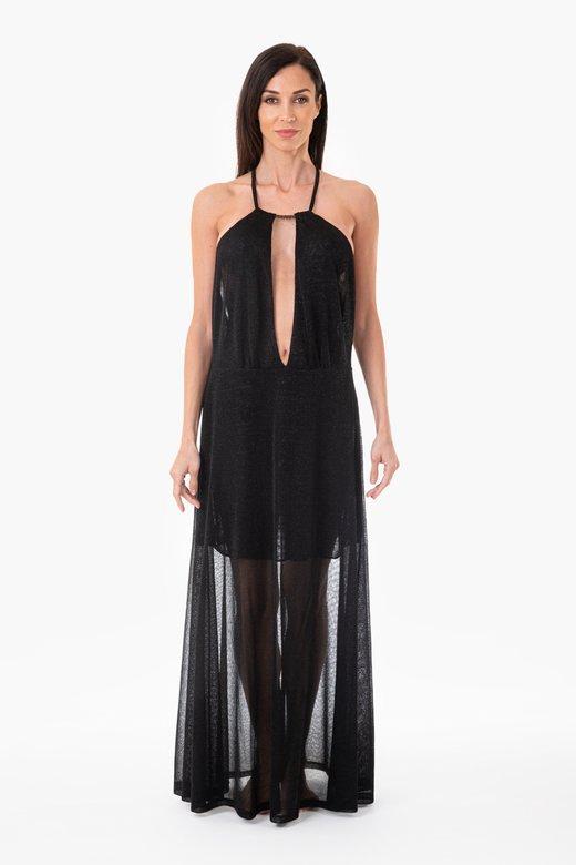 LUREX LONG BEACH DRESS WITH DEEP NECKLINE