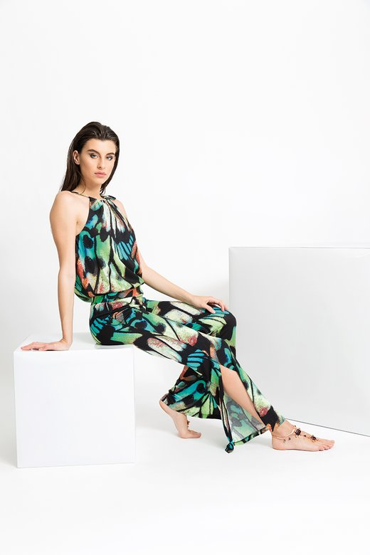 JERSEY PRINTED PANT WITH SIDE SLITS