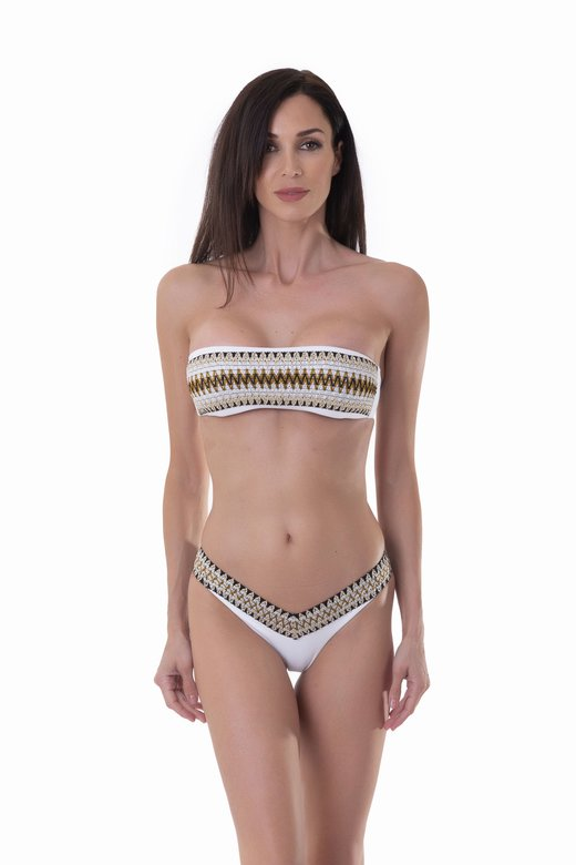 BANDEAU BIKINI WITH LUREX ELASTICS AND HIGH-LEG BOTTOM