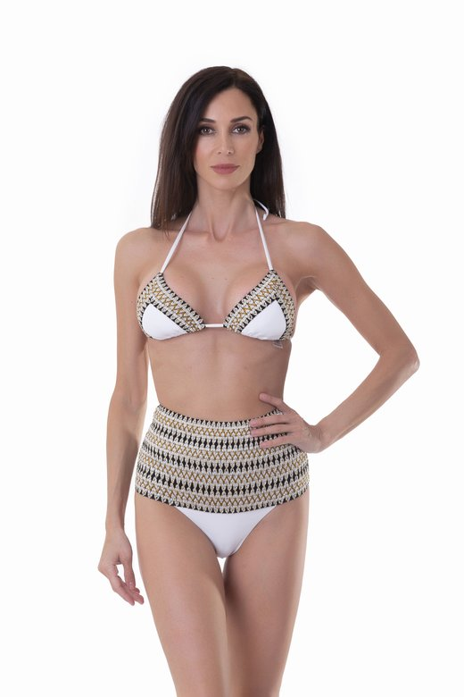TRIANGLE BIKINI WITH LUREX ELASTICS AND HIGH-WAIST BOTTOM