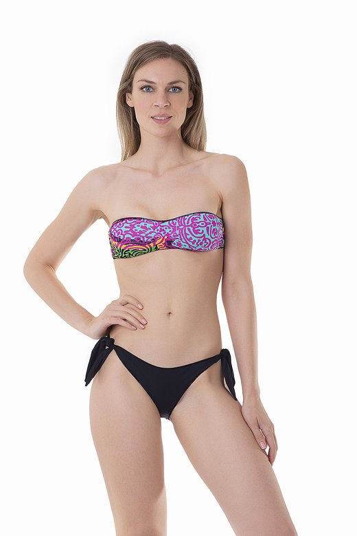 BASIC BANDEAU BIKINI BOTTOM WITH KNOTTED STRAPS MIX PRINTED AND SOLID COLOUR