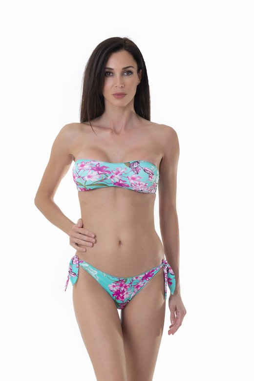 PRINTED BASIC BANDEAU BIKINI BOTTOM WITH KNOTTED STRAPS