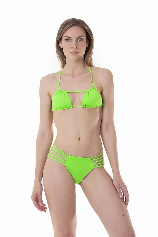FLUORESCENT TRIANGLE BIKINI WITH CROSSED TIE AND BOTTOM WITH SIDE CUT OUT STRINGS