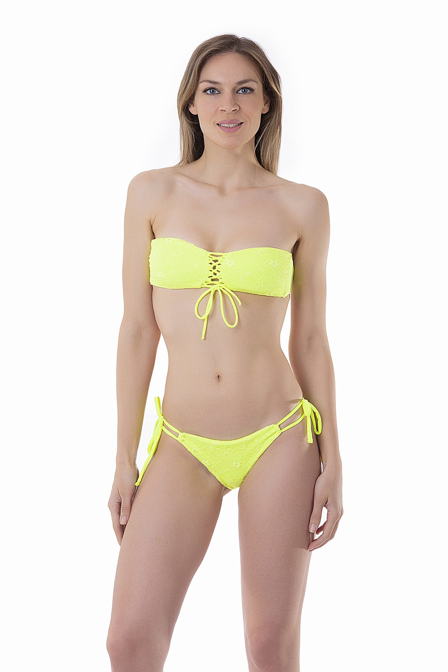 FLUORESCENT FRONT STRING BANDEAU BIKINI WITH LACE APPLICATIONS - Pizzo Giallo Fluo