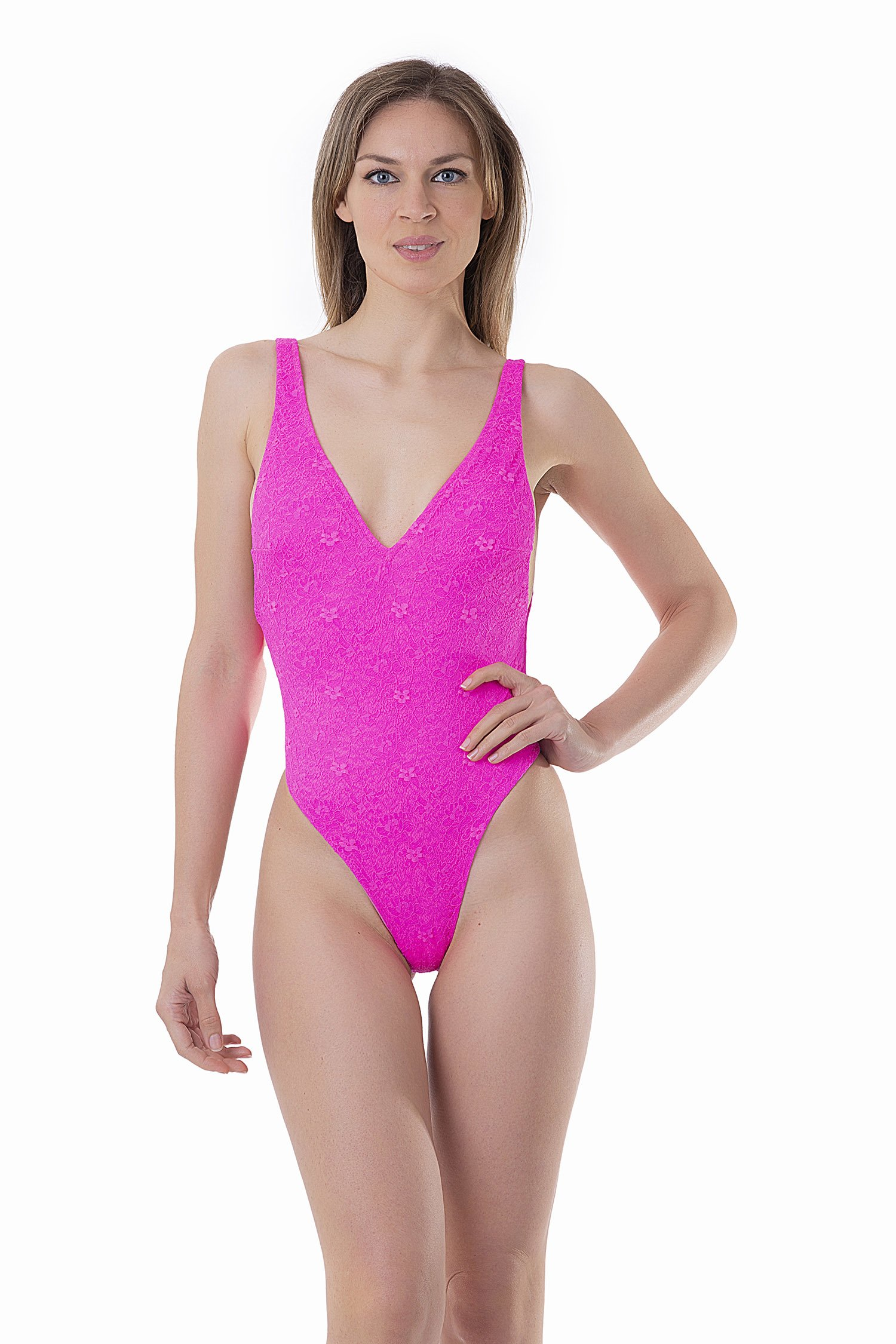FLUORESCENT ONE-PIECE WITH LACE APPLICATION - Pizzo Rosa Fluo