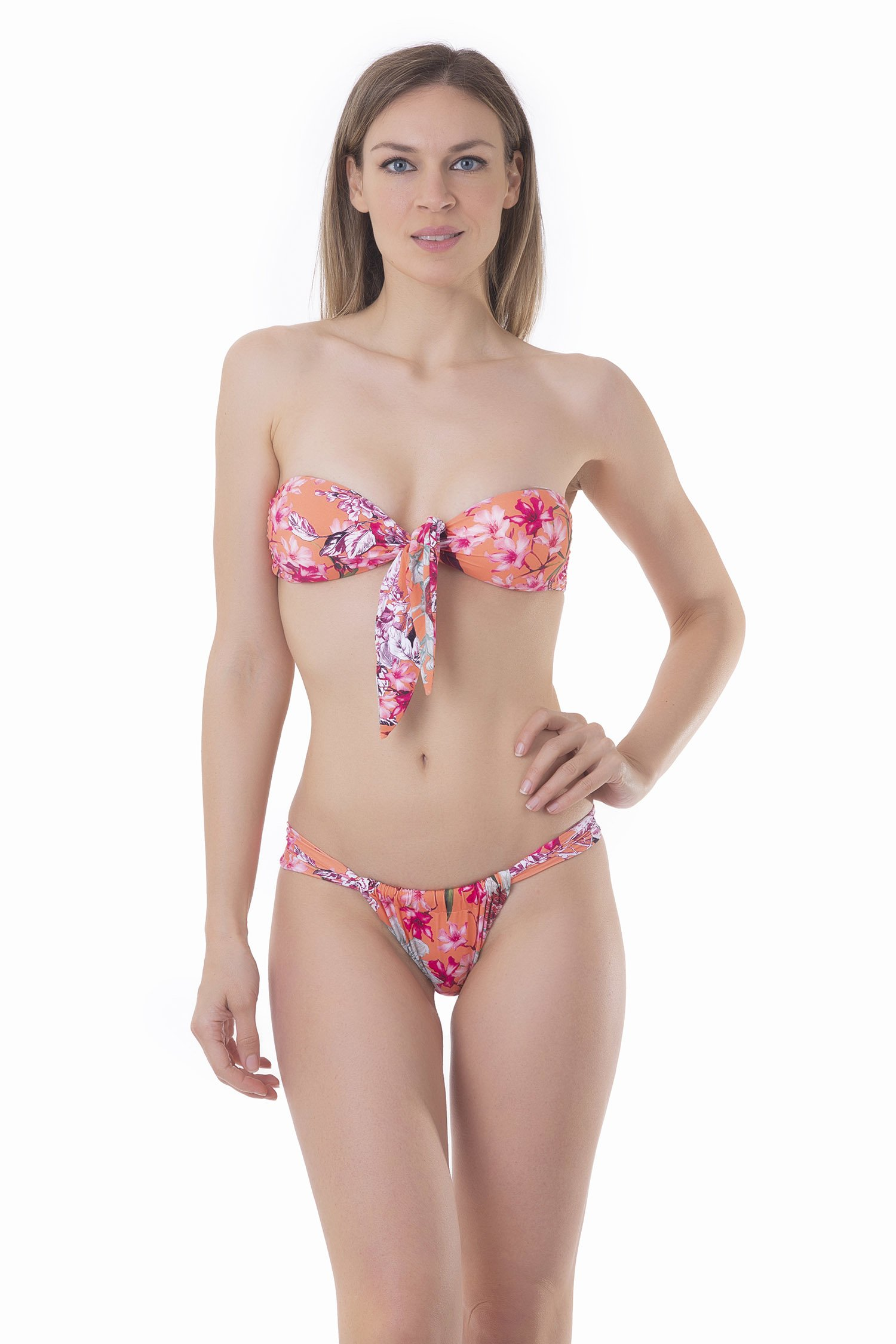 PRINTED BANDEAU BIKINI WITH CENTRAL KNOT AND CHEEKY BOTTOM - Fiori Pesco