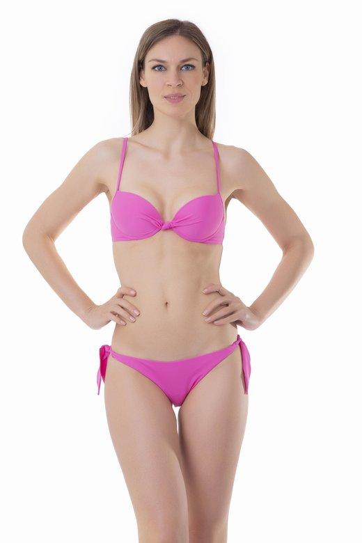 SOLID COLOUR PUSH UP BIKINI BOTTOM WITH TIES