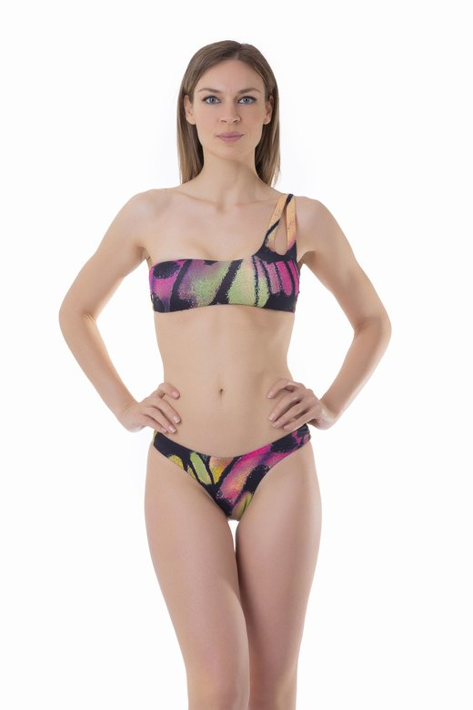 ONE-SHOULDER BIKINI WITH BRAZILIAN BOTTOM