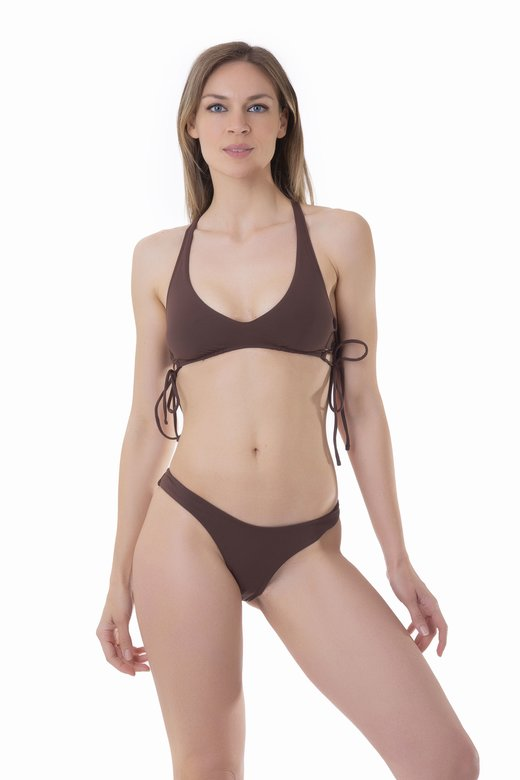 SOLID COLOUR BRALETTE BIKINI WITH SIDE STRINGS AND HIGH-LEG BOTTOM