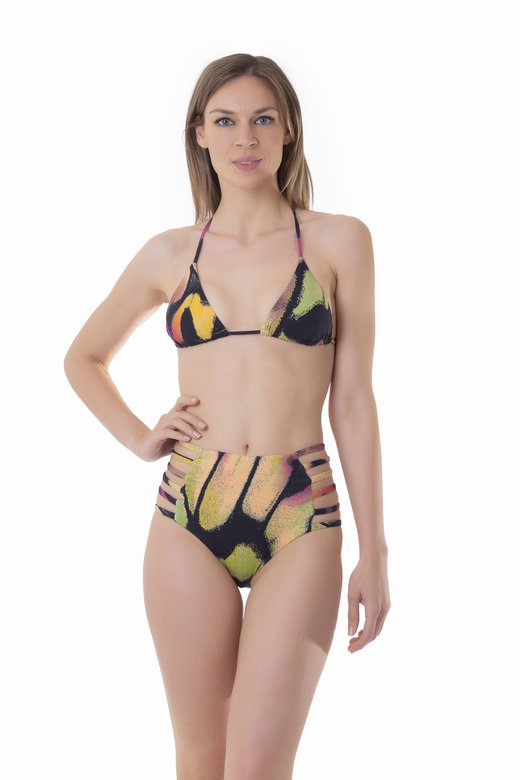 TRIANGLE BIKINI WITH HIGH-WAIST BOTTOM WITH STRINGS